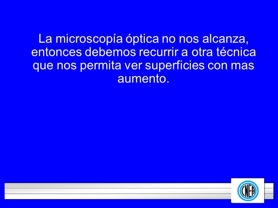 LOGOTIPO DE SU EMPRESA La microscopía óptica no nos alcanza, entonces debemos recurrir a otra técnica que nos permita ver superficies con mas aumento.
