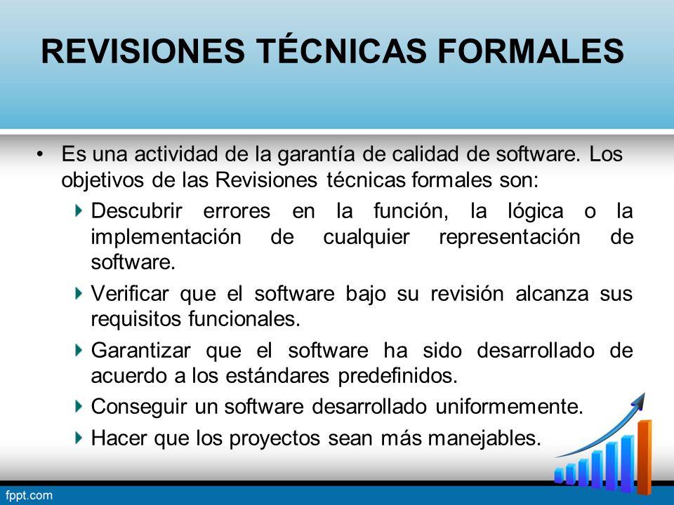 REVISIONES TÉCNICAS FORMALES Es una actividad de la garantía de calidad de software. Los objetivos de las Revisiones técnicas formales son: Descubrir