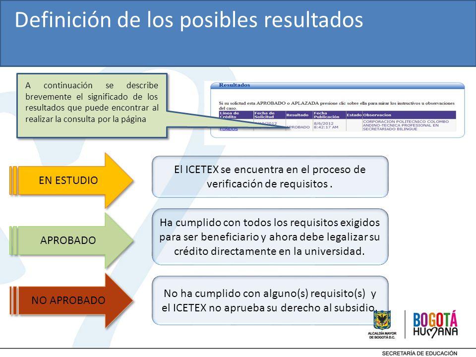 EN ESTUDIO El ICETEX se encuentra en el proceso de verificación de requisitos.