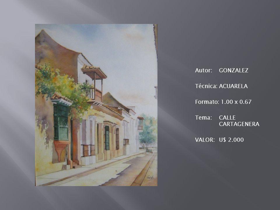 Autor:GONZALEZ Técnica:ACUARELA Formato: 1.00 x 0.67 Tema:CALLE CARTAGENERA VALOR:U$ 2.000