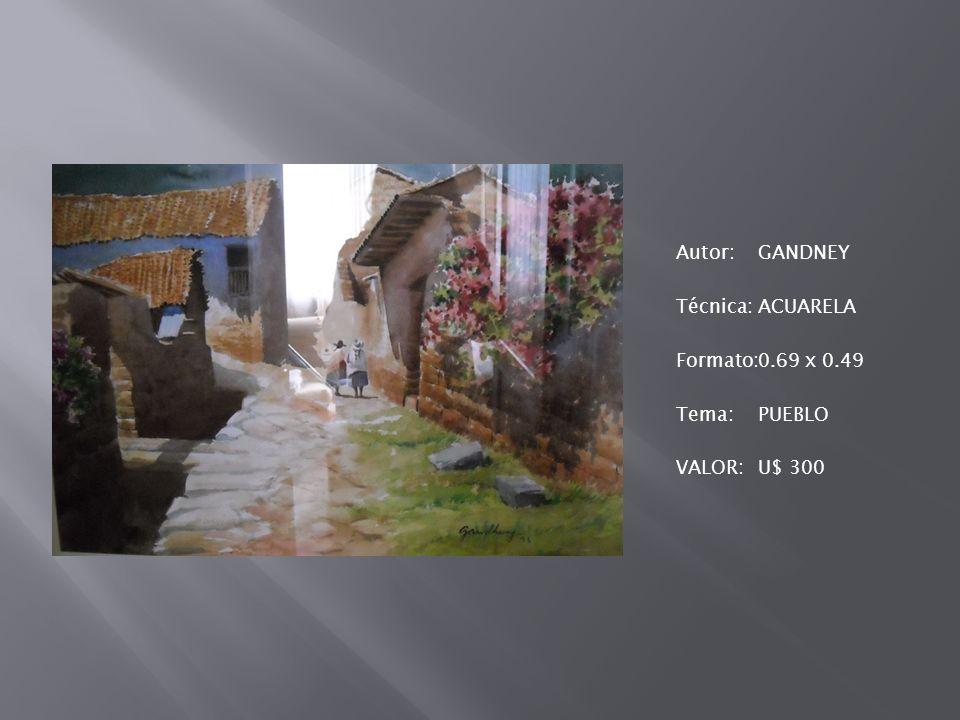 Autor:GANDNEY Técnica:ACUARELA Formato:0.69 x 0.49 Tema:PUEBLO VALOR:U$ 300