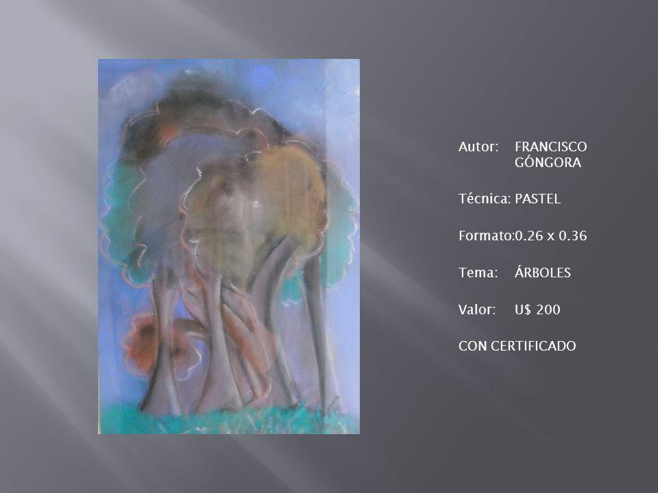 Autor:FRANCISCO GÓNGORA Técnica:PASTEL Formato:0.26 x 0.36 Tema:ÁRBOLES Valor:U$ 200 CON CERTIFICADO