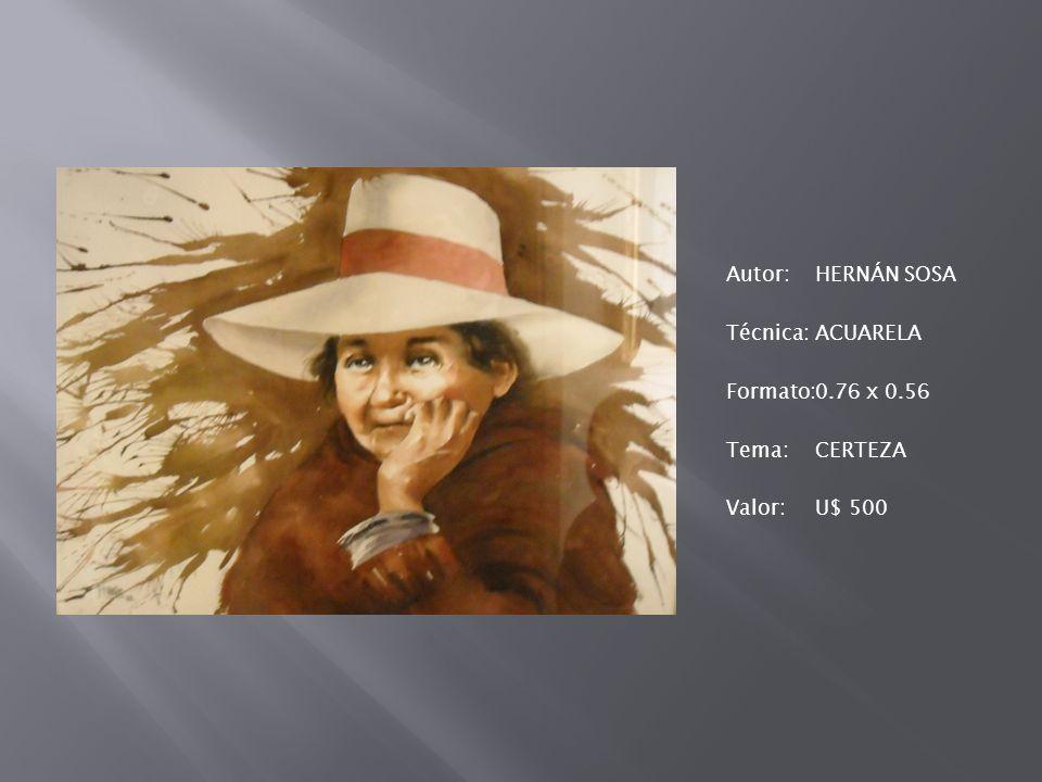 Autor:HERNÁN SOSA Técnica:ACUARELA Formato:0.76 x 0.56 Tema:CERTEZA Valor:U$ 500