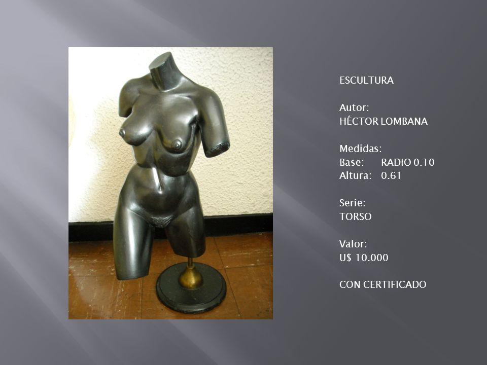 ESCULTURA Autor: HÉCTOR LOMBANA Medidas: Base: RADIO 0.10 Altura: 0.61 Serie: TORSO Valor: U$ 10.000 CON CERTIFICADO