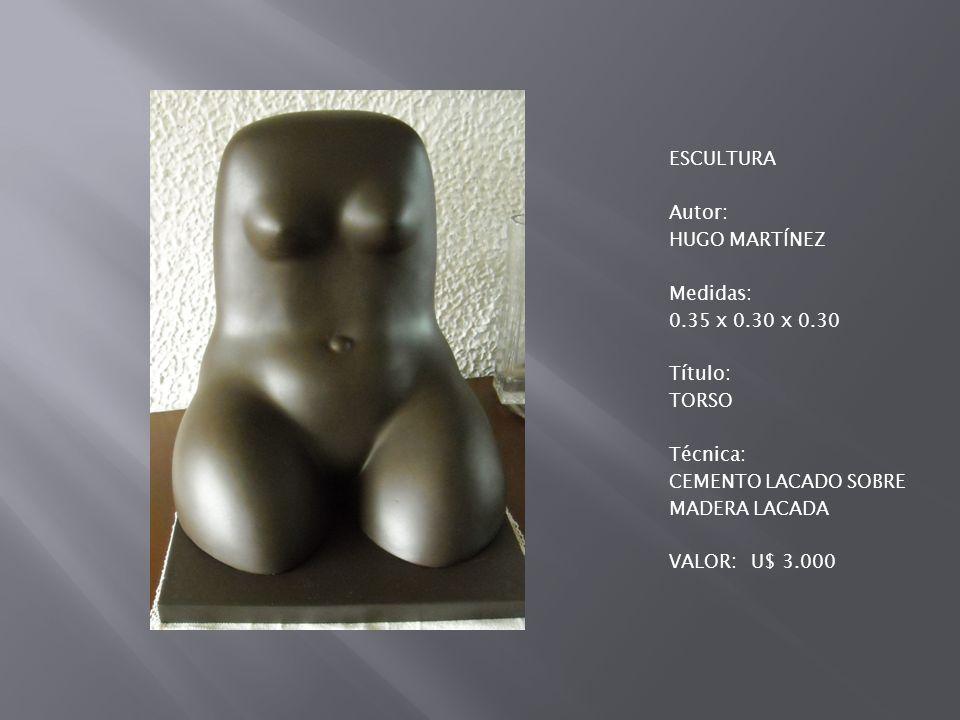ESCULTURA Autor: HUGO MARTÍNEZ Medidas: 0.35 x 0.30 x 0.30 Título: TORSO Técnica: CEMENTO LACADO SOBRE MADERA LACADA VALOR:U$ 3.000