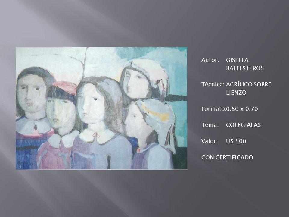 Autor:GISELLA BALLESTEROS Técnica:OLEO Formato:1.17 x 0.88 Tema:BODEGÓN VALOR:U$ 4.700 CON CERTIFICADO