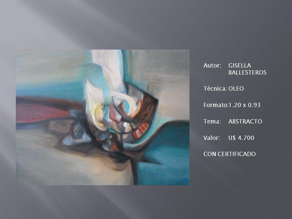 Autor:GISELLA BALLESTEROS Técnica:OLEO Formato:1.20 x 0.93 Tema:ABSTRACTO Valor:U$ 4.700 CON CERTIFICADO