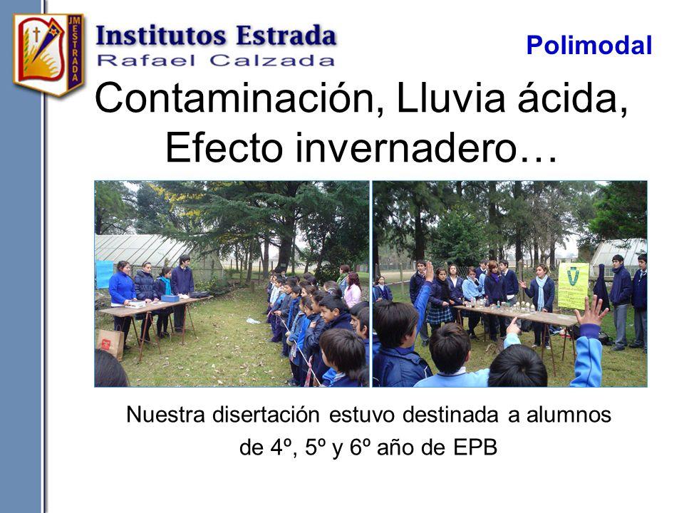 Contaminación, Lluvia ácida, Efecto invernadero… Nuestra disertación estuvo destinada a alumnos de 4º, 5º y 6º año de EPB Polimodal