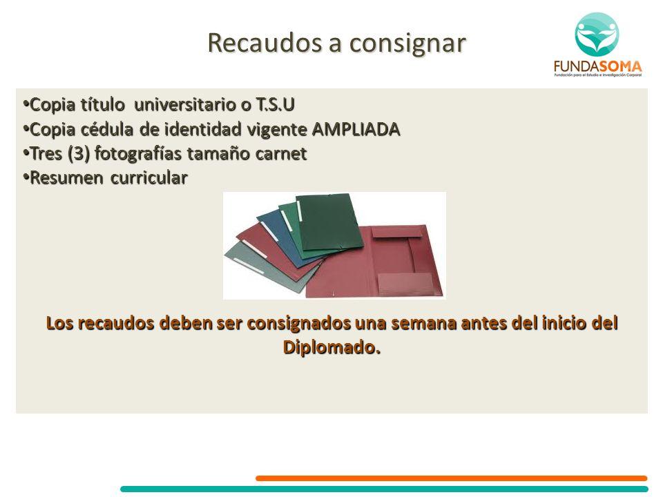 Recaudos a consignar Copia título universitario o T.S.U Copia título universitario o T.S.U Copia cédula de identidad vigente AMPLIADA Copia cédula de