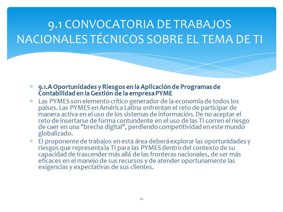 9.1.A Oportunidades y Riesgos en la Aplicación de Programas de Contabilidad en la Gestión de la empresa PYME Las PYMES son elemento crítico generador de la economía de todos los países.
