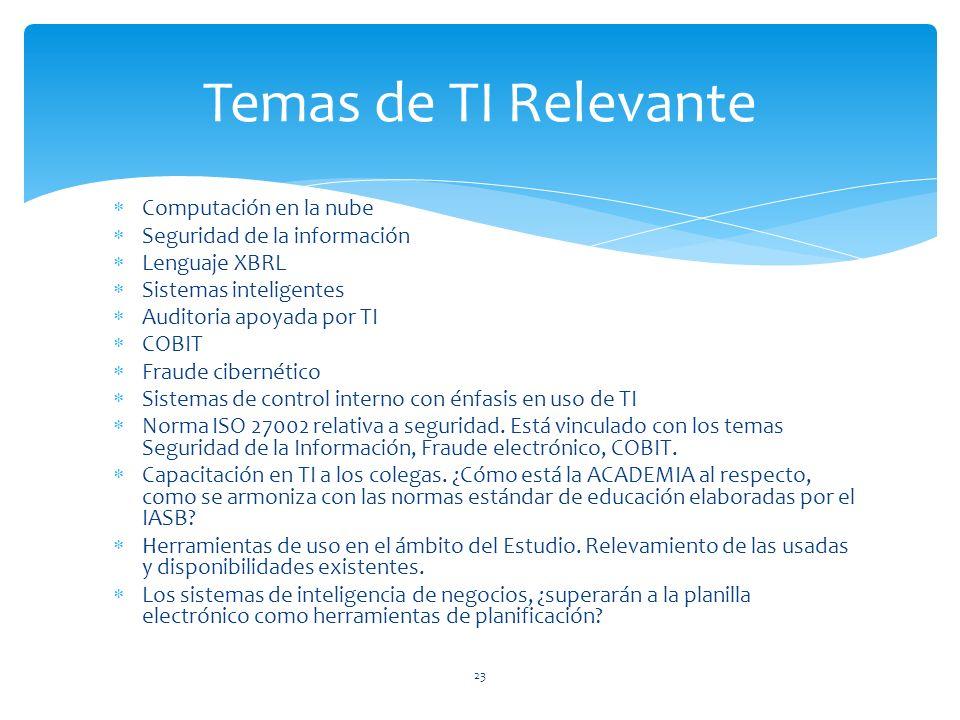 Computación en la nube Seguridad de la información Lenguaje XBRL Sistemas inteligentes Auditoria apoyada por TI COBIT Fraude cibernético Sistemas de control interno con énfasis en uso de TI Norma ISO 27002 relativa a seguridad.
