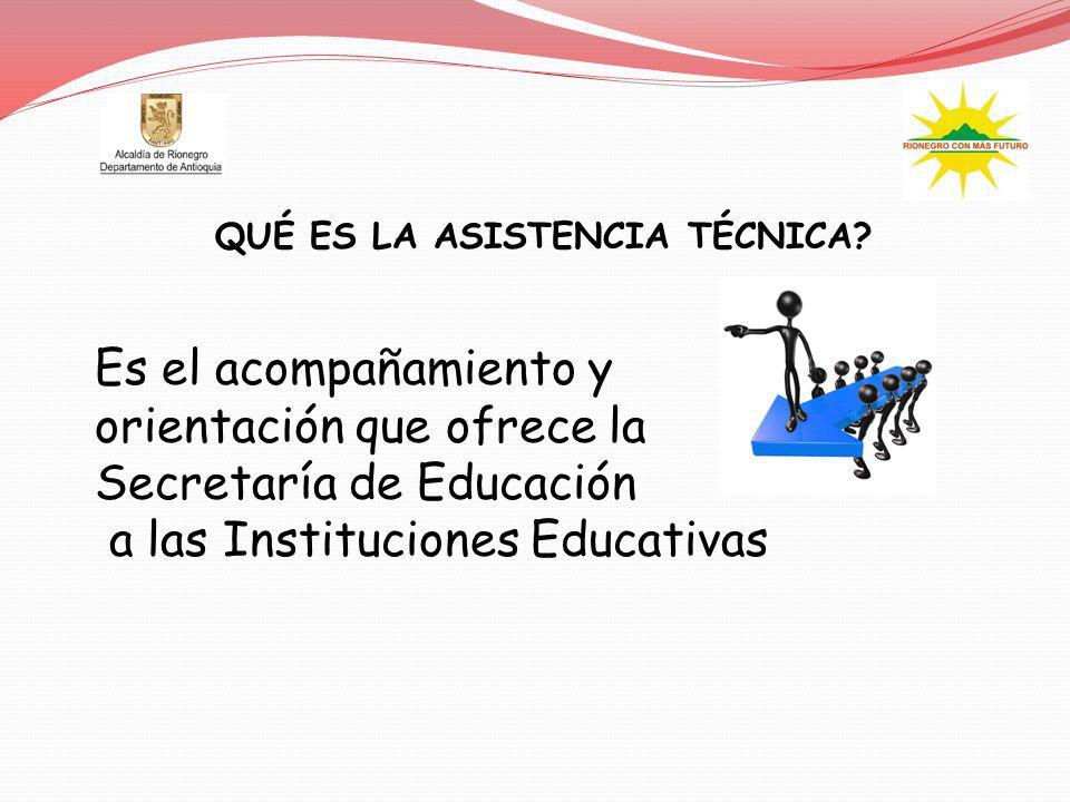 QUÉ ES LA ASISTENCIA TÉCNICA? Es el acompañamiento y orientación que ofrece la Secretaría de Educación a las Instituciones Educativas