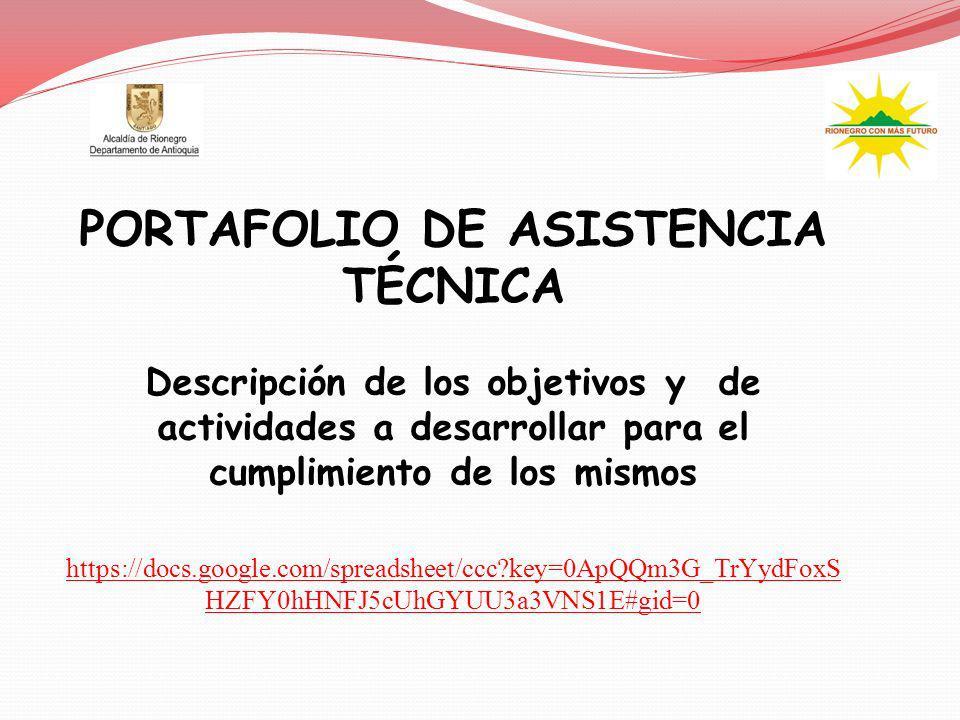 PORTAFOLIO DE ASISTENCIA TÉCNICA Descripción de los objetivos y de actividades a desarrollar para el cumplimiento de los mismos https://docs.google.co