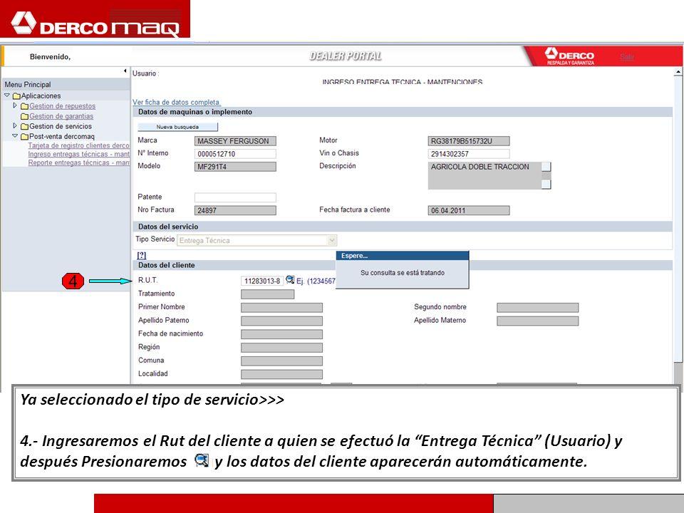 Ya completado los datos del cliente seguiremos con el paso 5: Debemos ingresar los datos de la Entrega Técnica, ver página siguiente.