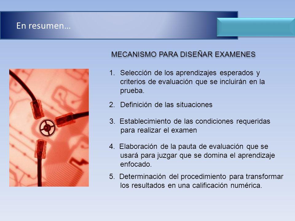 1.Selección de los aprendizajes esperados y criterios de evaluación que se incluirán en la prueba. 3. Establecimiento de las condiciones requeridas pa