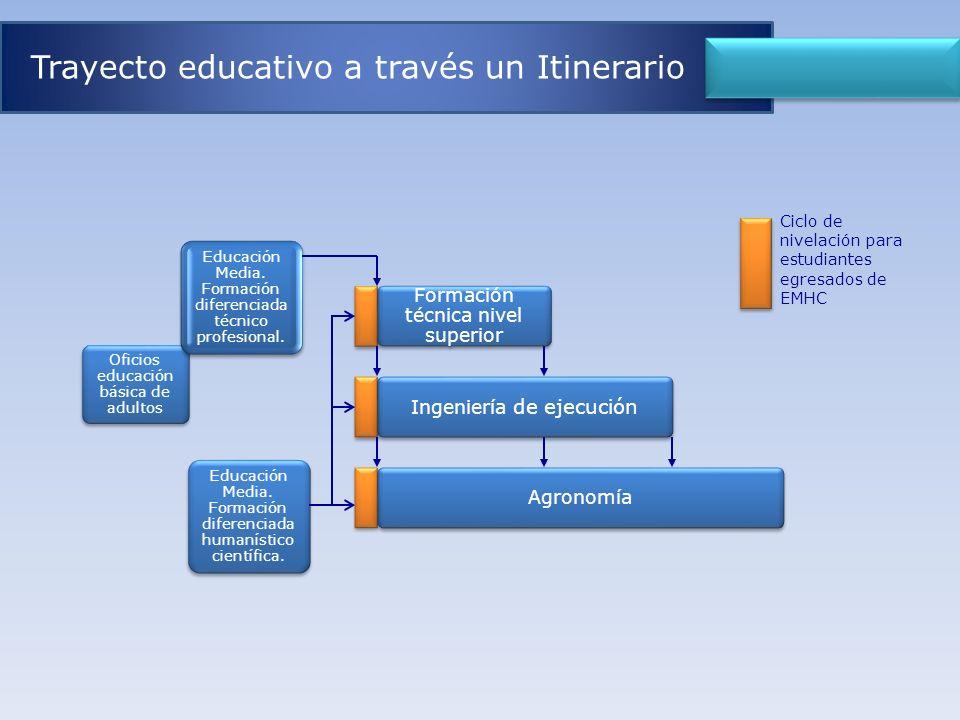 Educación Media. Formación diferenciada humanístico científica. Formación técnica nivel superior Ingeniería de ejecución Agronomía Oficios educación b