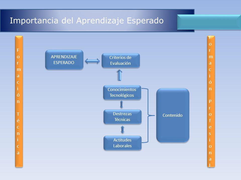 Importancia del Aprendizaje Esperado Destrezas Técnicas Actitudes Laborales Conocimientos Tecnológicos Conocimientos Tecnológicos APRENDIZAJE ESPERADO
