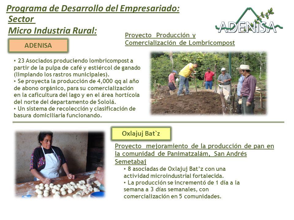 Programa de Desarrollo del Empresariado: ADENISA Proyecto Producción y Comercialización de Lombricompost Sector Micro Industria Rural: 23 Asociados produciendo lombricompost a partir de la pulpa de café y estiércol de ganado (limpiando los rastros municipales).