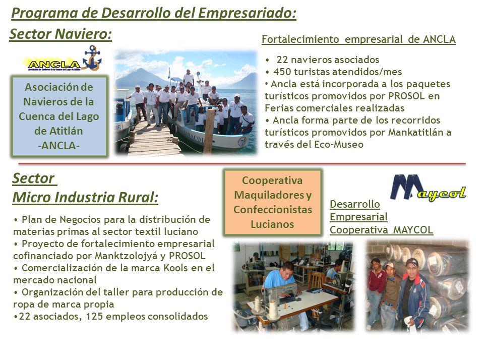 Programa de Desarrollo del Empresariado: Cooperativa Maquiladores y Confeccionistas Lucianos Asociación de Navieros de la Cuenca del Lago de Atitlán -