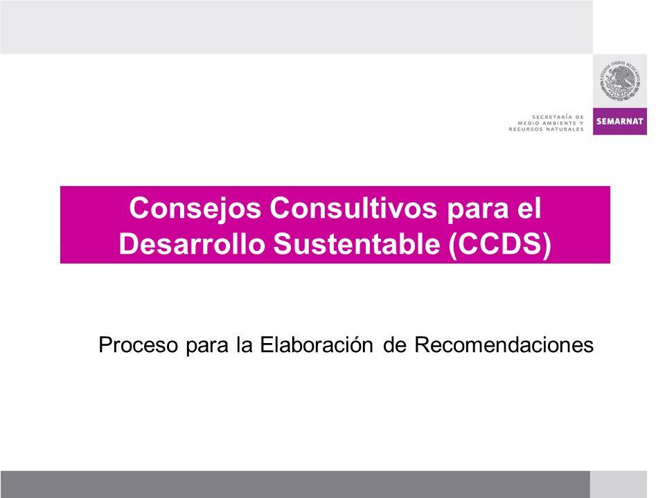 PROCESO DE RENOVACIÓN DE LOS CCDS (2005 – 2007) Consejos Consultivos para el Desarrollo Sustentable (CCDS) Proceso para la Elaboración de Recomendacio