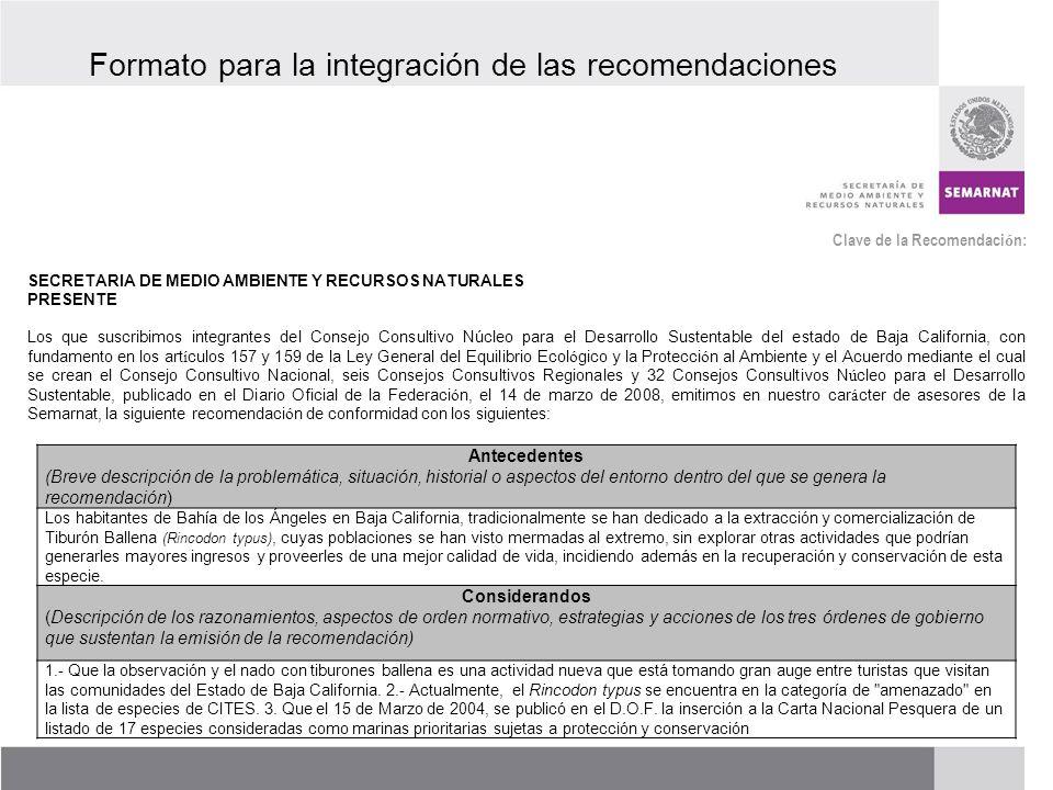PROCESO DE RENOVACIÓN DE LOS CCDS (2005 – 2007) Formato para la integración de las recomendaciones Clave de la Recomendaci ó n: SECRETARIA DE MEDIO AM