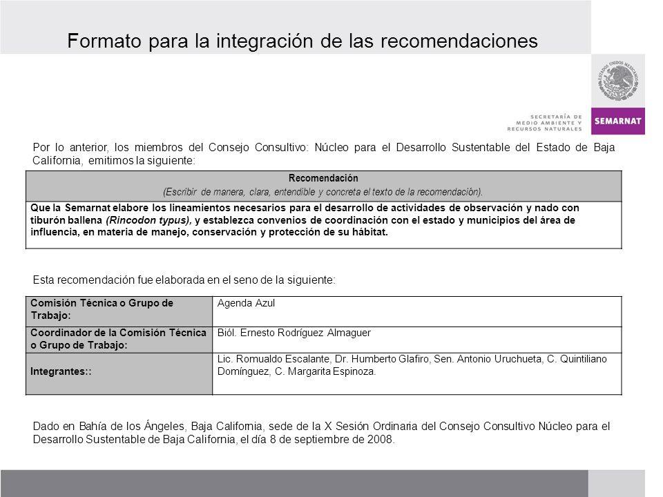 PROCESO DE RENOVACIÓN DE LOS CCDS (2005 – 2007) Formato para la integración de las recomendaciones Por lo anterior, los miembros del Consejo Consultiv