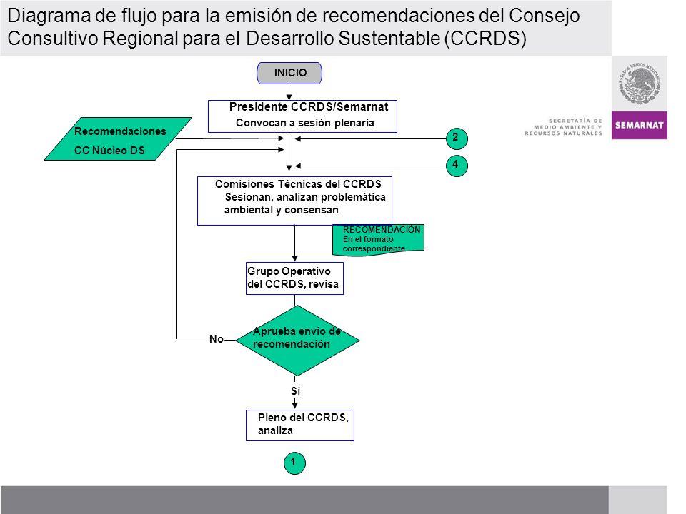 PROCESO DE RENOVACIÓN DE LOS CCDS (2005 – 2007) Diagrama de Flujo para la emisión de recomendaciones del Consejo Consultivo Regional para el Desarrollo Sustentable (CCRDS) 1 Aprueba recomendación Sí No Se envía para atención del C.