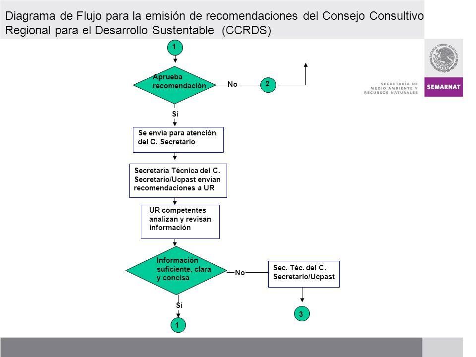PROCESO DE RENOVACIÓN DE LOS CCDS (2005 – 2007) Diagrama de flujo para la emisión de recomendaciones del Consejo Consultivo Regional para el Desarrollo Sustentable (CCRDS) Respuesta Secretaría Técnica C.