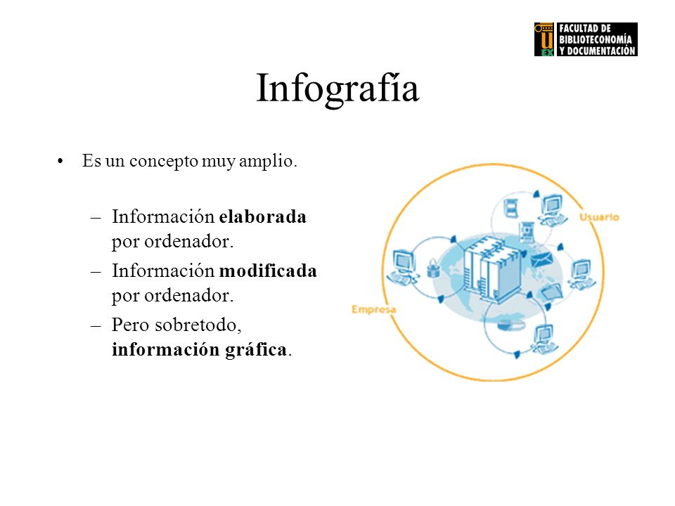 Infografía Es un concepto muy amplio.–Información elaborada por ordenador.