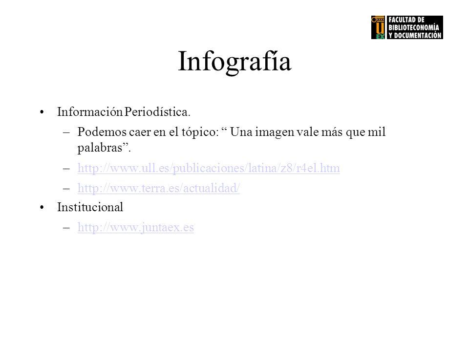 Infografía Información Periodística. –Podemos caer en el tópico: Una imagen vale más que mil palabras. –http://www.ull.es/publicaciones/latina/z8/r4el