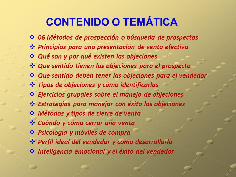 CONTENIDO O TEMÁTICA 06 Métodos de prospección o búsqueda de prospectos Principios para una presentación de venta efectiva Qué son y por qué existen l