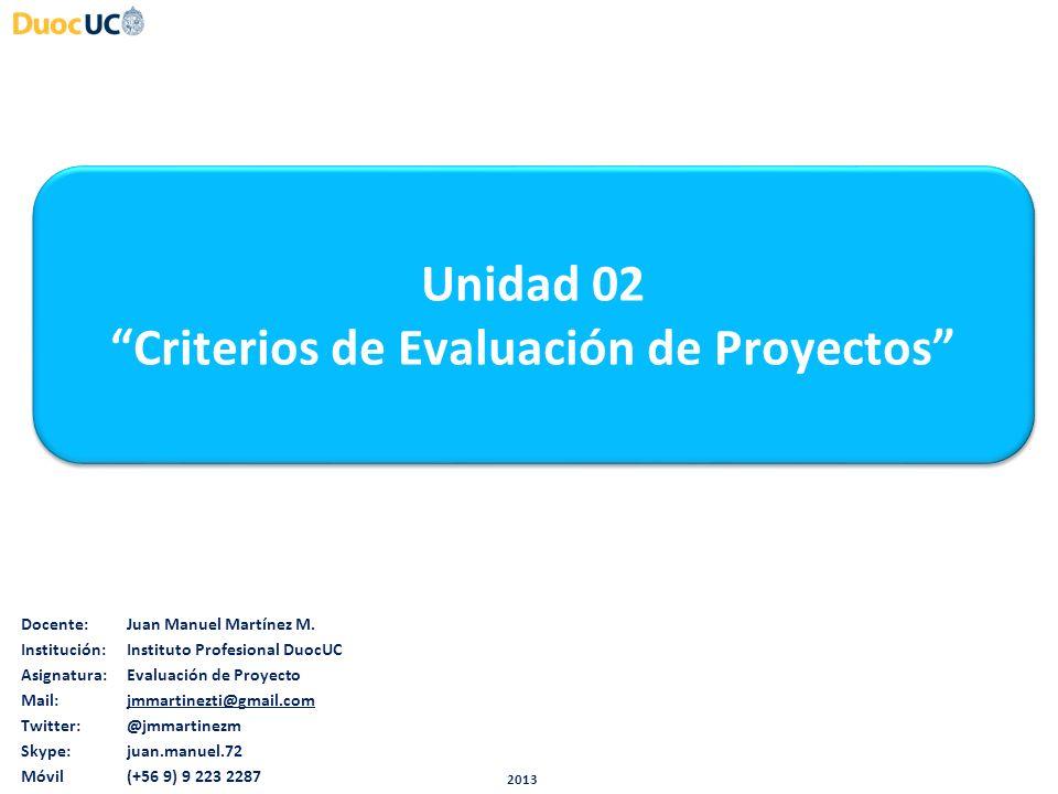 Unidad 02 Criterios de Evaluación de Proyectos Unidad 02 Criterios de Evaluación de Proyectos Docente:Juan Manuel Martínez M. Institución:Instituto Pr