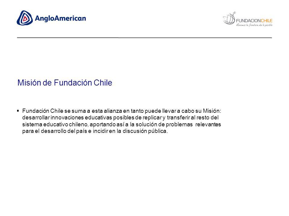 Fundación Chile se suma a esta alianza en tanto puede llevar a cabo su Misión: desarrollar innovaciones educativas posibles de replicar y transferir a