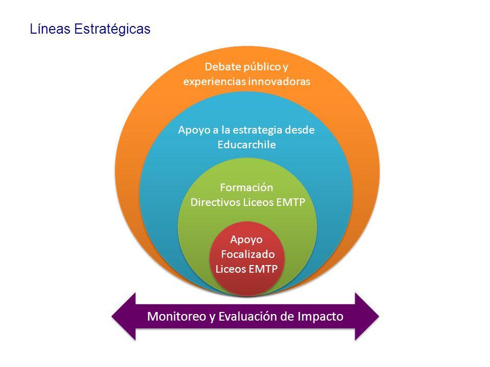 Apoyo a la estrategia desde Educarchile Formación Directivos Liceos EMTP Apoyo Focalizado Liceos EMTP Debate público y experiencias innovadoras Monito