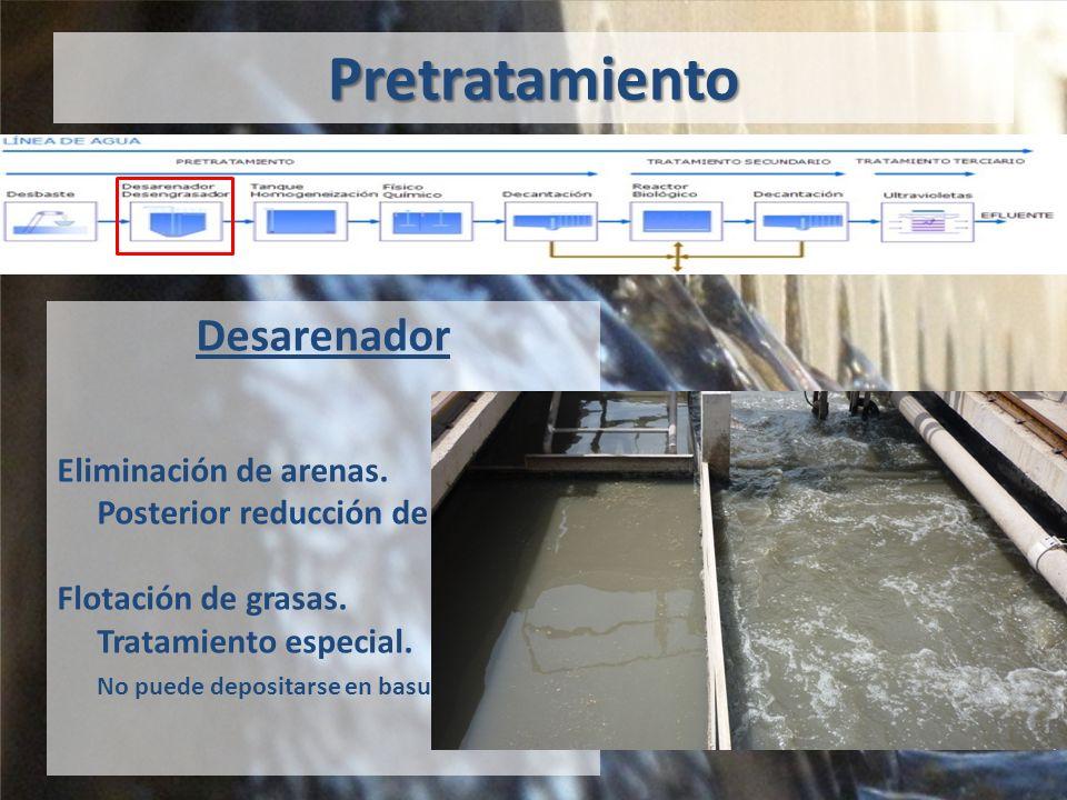 Pretratamiento Desarenador Eliminación de arenas.Posterior reducción de volumen.