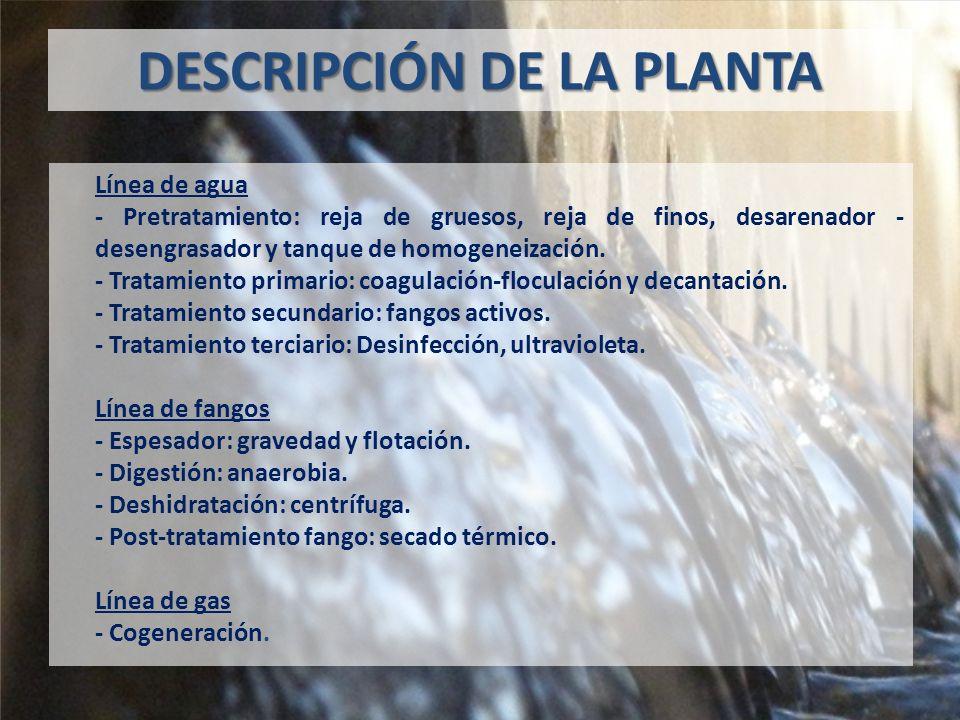 DESCRIPCIÓN DE LA PLANTA Línea de agua - Pretratamiento: reja de gruesos, reja de finos, desarenador - desengrasador y tanque de homogeneización.