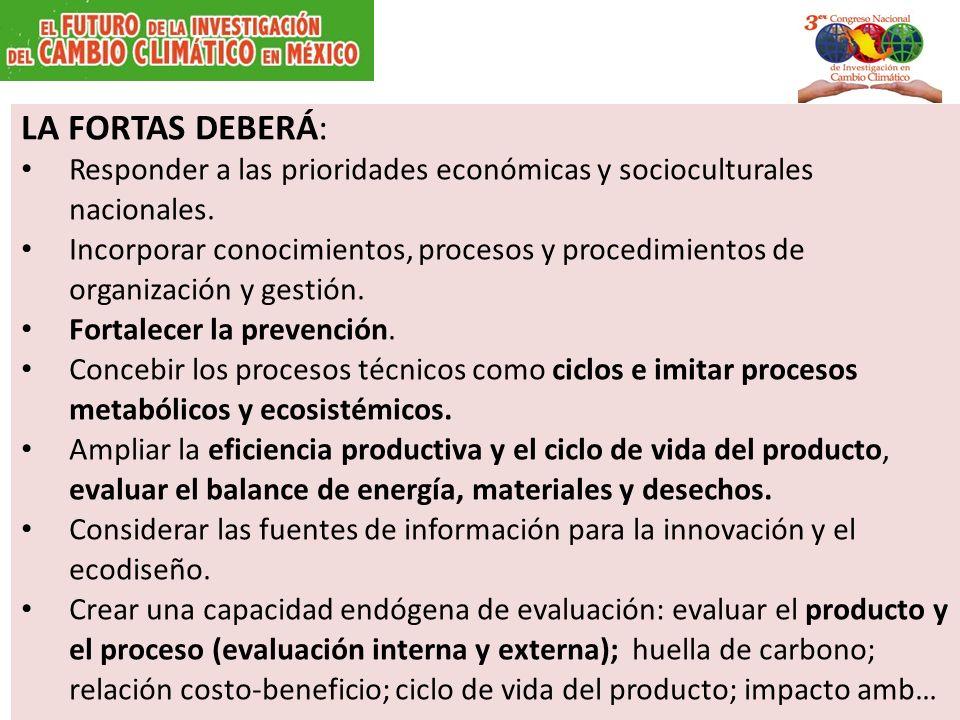 LA FORTAS DEBERÁ: Responder a las prioridades económicas y socioculturales nacionales. Incorporar conocimientos, procesos y procedimientos de organiza