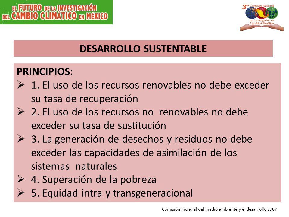 PRINCIPIOS: 1. El uso de los recursos renovables no debe exceder su tasa de recuperación 2. El uso de los recursos no renovables no debe exceder su ta