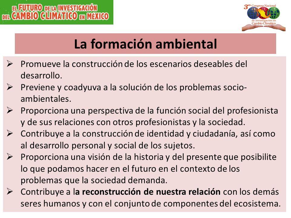 La formación ambiental Promueve la construcción de los escenarios deseables del desarrollo.