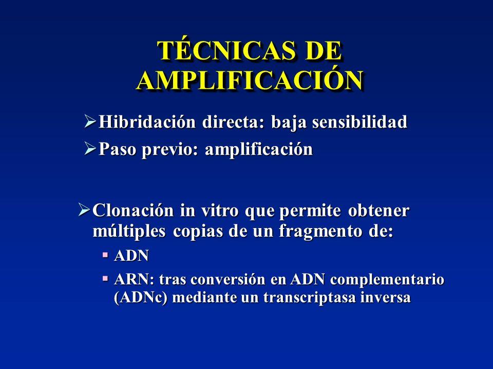 Hibridación directa: baja sensibilidad Hibridación directa: baja sensibilidad Paso previo: amplificación Paso previo: amplificación Clonación in vitro