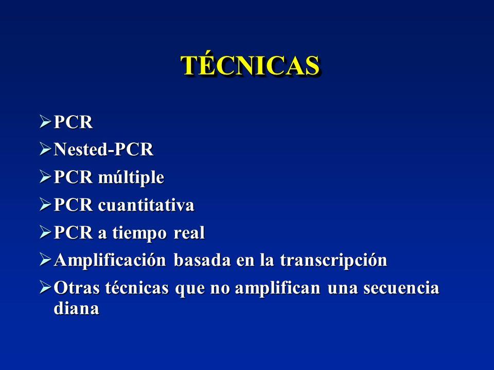 TÉCNICASTÉCNICAS PCR PCR Nested-PCR Nested-PCR PCR múltiple PCR múltiple PCR cuantitativa PCR cuantitativa PCR a tiempo real PCR a tiempo real Amplifi