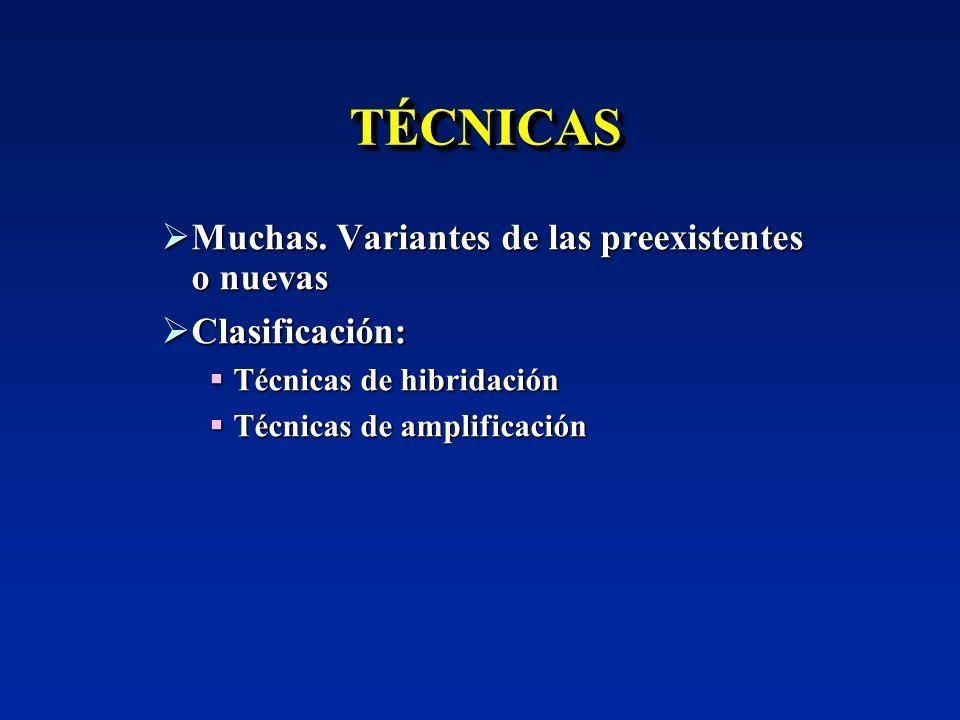 AMPLIFICACIÓN BASADA EN LA TRANSCRIPCIÓN Variedades: NASBA, TMA, 3SR… Variedades: NASBA, TMA, 3SR… OTRAS TÉCNICAS QUE NO AMPLIFICAN SECUENCIAS DIANA Amplificación de las sondas una vez que estas han hibridado con sus dianas Amplificación de las sondas una vez que estas han hibridado con sus dianas LCR (Ligase Chain Reaction) LCR (Ligase Chain Reaction) Ligar y amplificar los cebadores Ligar y amplificar los cebadores Q -replicasa: no comercializada Q -replicasa: no comercializada
