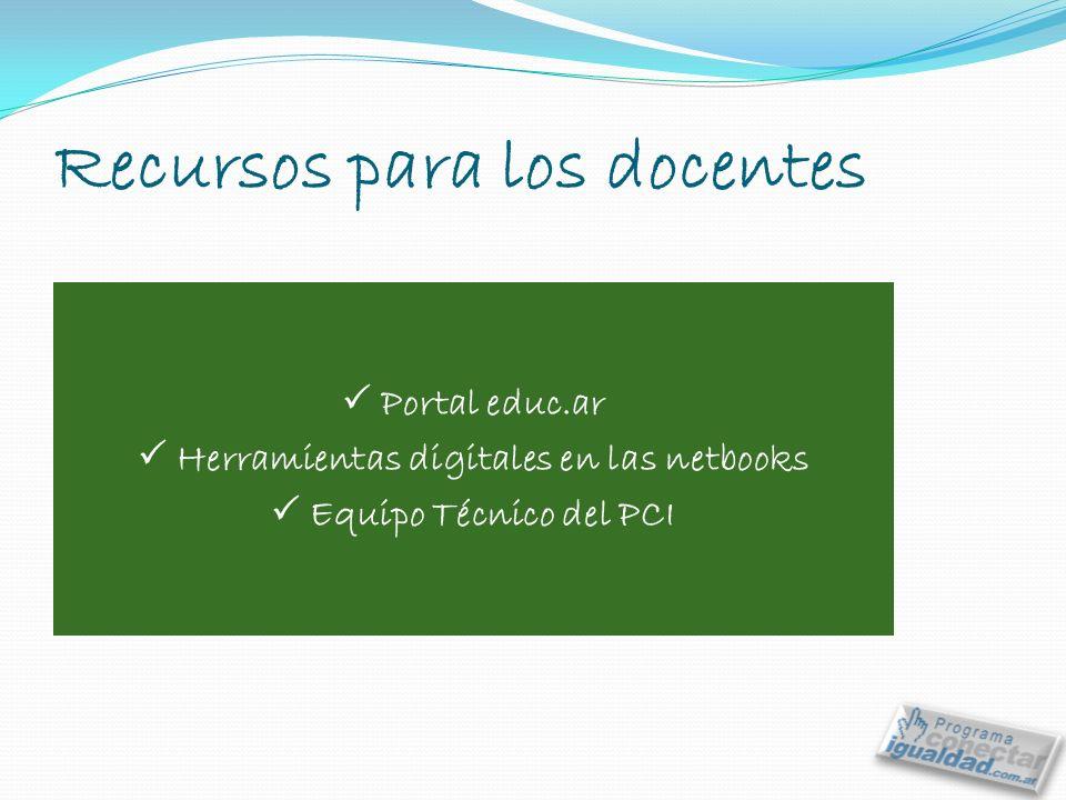 Recursos para los docentes Portal educ.ar Herramientas digitales en las netbooks Equipo Técnico del PCI