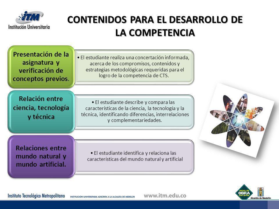 CONTENIDOS PARA EL DESARROLLO DE LA COMPETENCIA El estudiante realiza una concertación informada, acerca de los compromisos, contenidos y estrategias