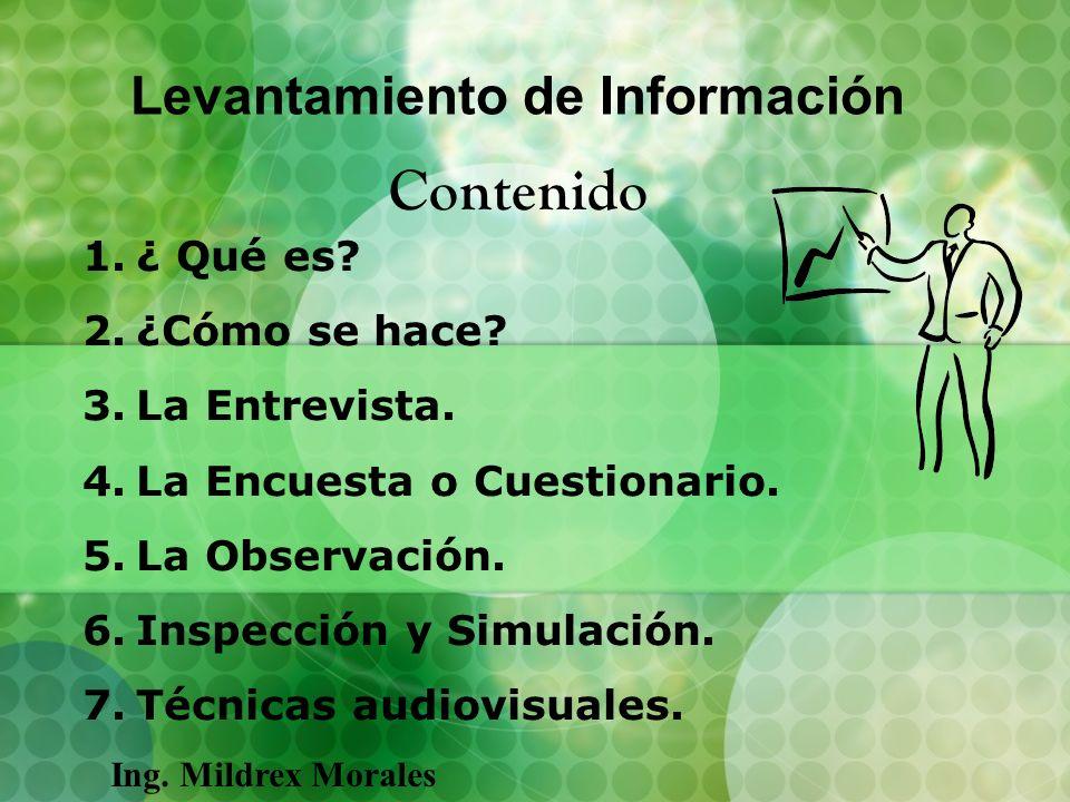 Levantamiento de Información Contenido 1.¿ Qué es? 2.¿Cómo se hace? 3.La Entrevista. 4.La Encuesta o Cuestionario. 5.La Observación. 6.Inspección y Si