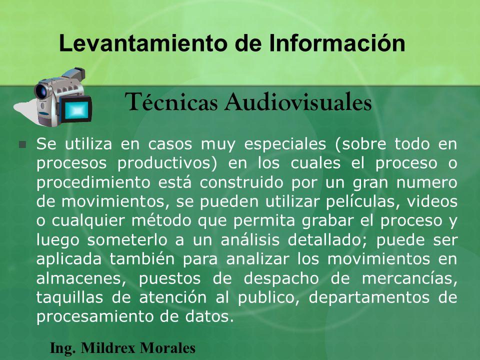 Ing. Mildrex Morales Levantamiento de Información Técnicas Audiovisuales Se utiliza en casos muy especiales (sobre todo en procesos productivos) en lo