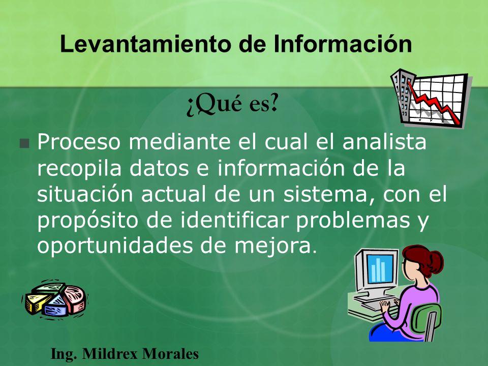 Proceso mediante el cual el analista recopila datos e información de la situación actual de un sistema, con el propósito de identificar problemas y op