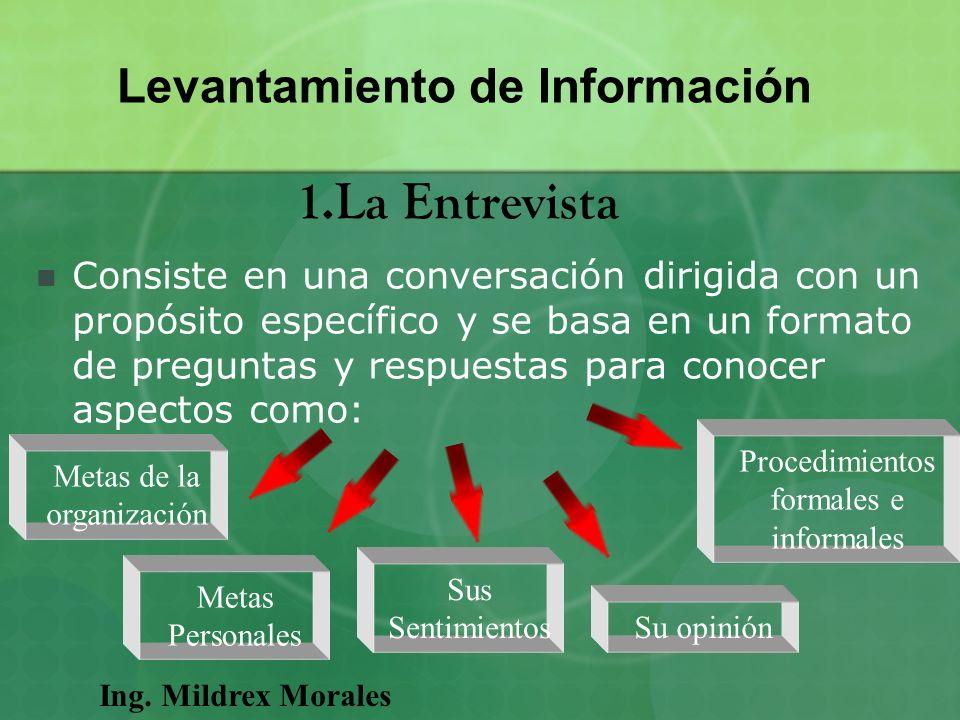 Consiste en una conversación dirigida con un propósito específico y se basa en un formato de preguntas y respuestas para conocer aspectos como: Ing. M