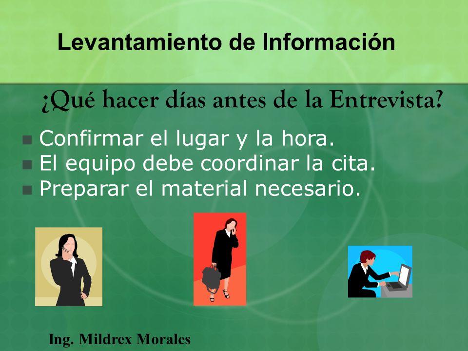 Ing. Mildrex Morales Levantamiento de Información ¿Qué hacer días antes de la Entrevista? Confirmar el lugar y la hora. El equipo debe coordinar la ci