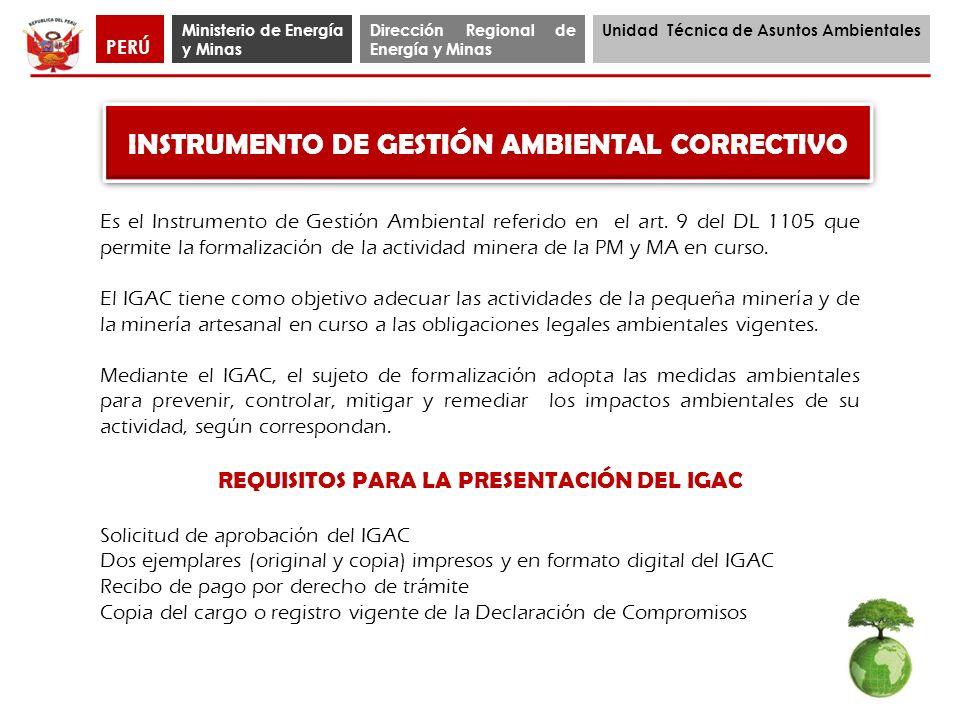 Ministerio de Energía y Minas Dirección Regional de Energía y Minas Unidad Técnica de Asuntos Ambientales PERÚ INSTRUMENTO DE GESTIÓN AMBIENTAL CORREC